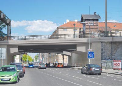 Most přes ulici Křižíkovu - nový stav